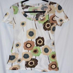 White T Shirt top with Flowers Pima Cotton S